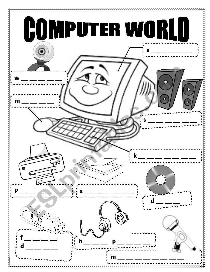 Computer Worksheet for Kindergarten Puter World Esl Worksheet by Kathleen1122 Lesson