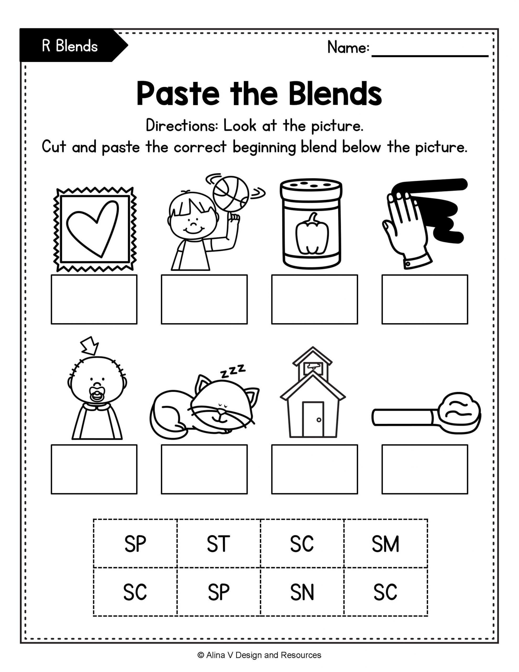Consonant Blends Worksheets for Kindergarten Beginning Blends Worksheets Bundle Consonant Blends In
