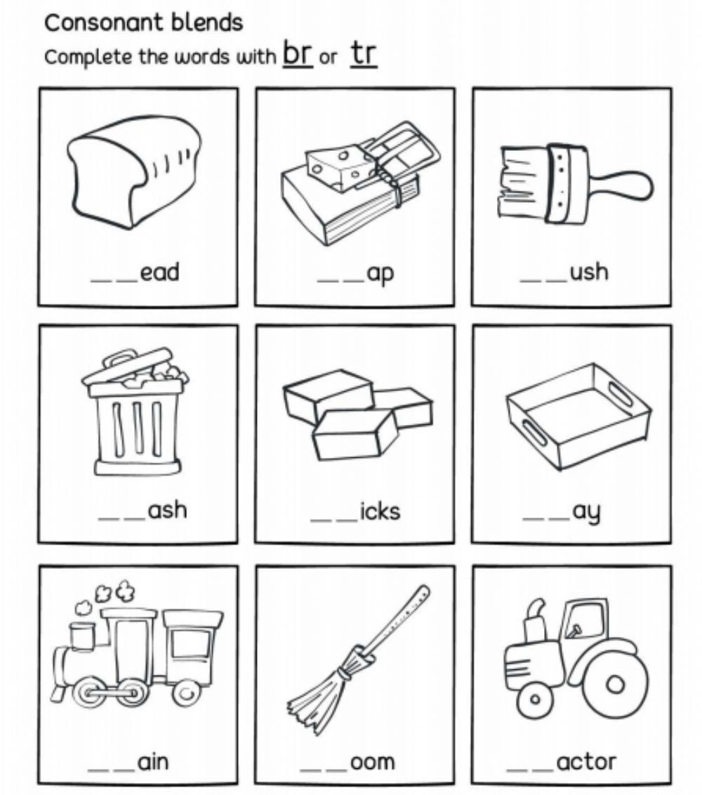 Consonant Blends Worksheets for Kindergarten Br or Tr R Consonant Blends Interactive Worksheet