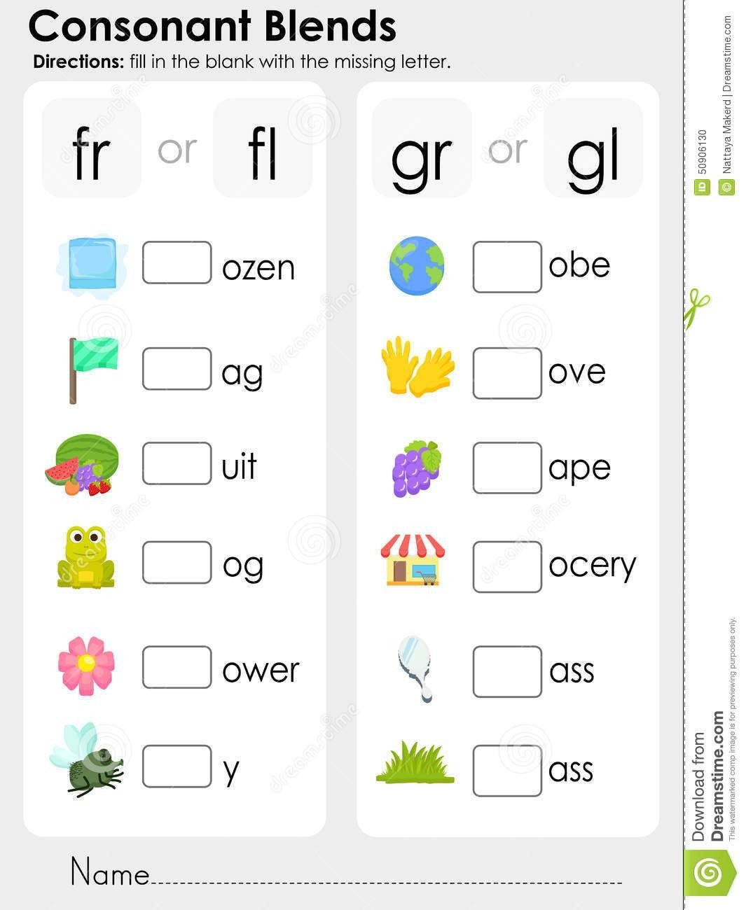 Consonant Blends Worksheets for Kindergarten Consonant Blends Missing Letter Worksheet for Education