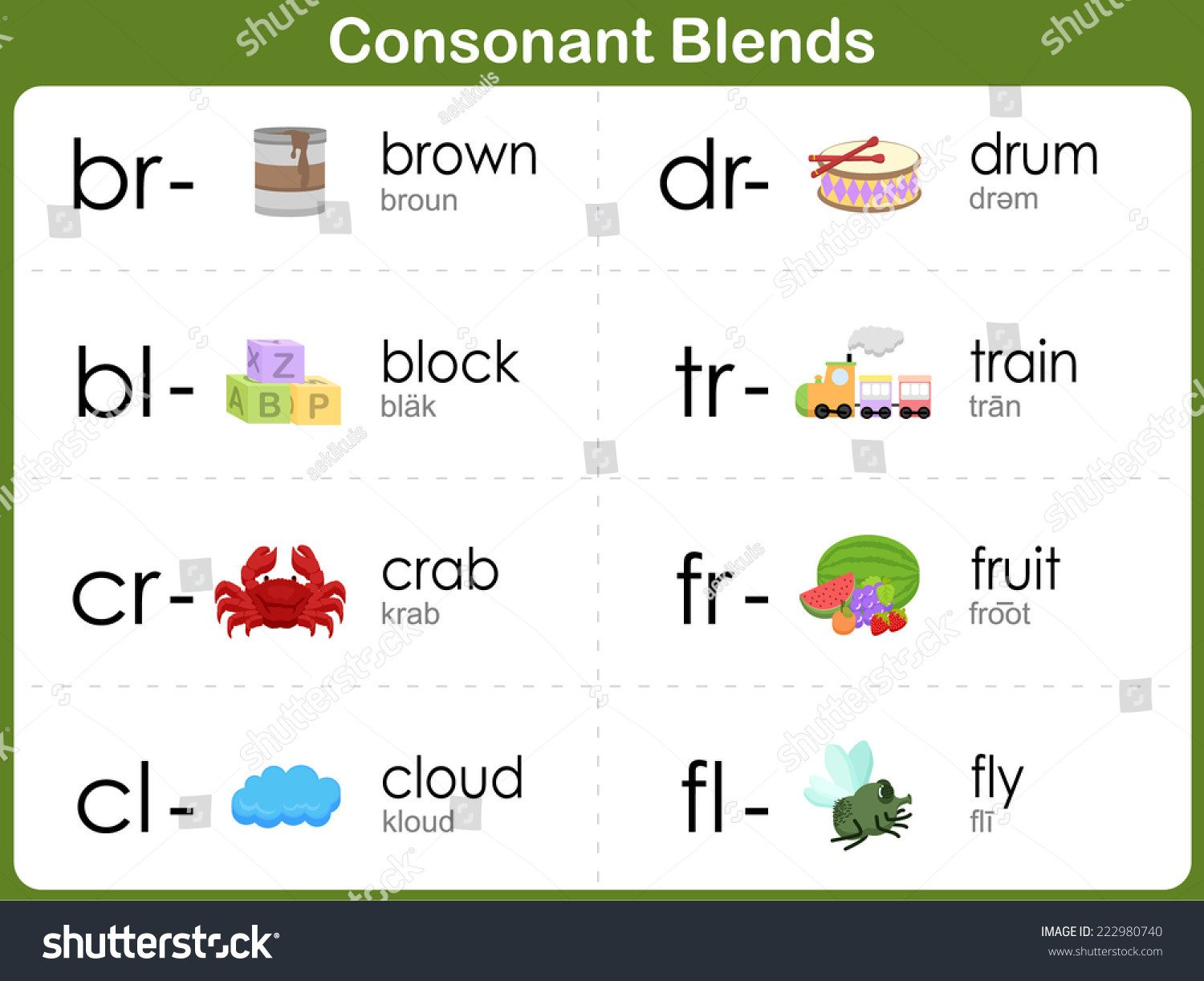 Consonant Blends Worksheets for Kindergarten Consonant Blends Worksheet Kids Stock Vector Royalty Free