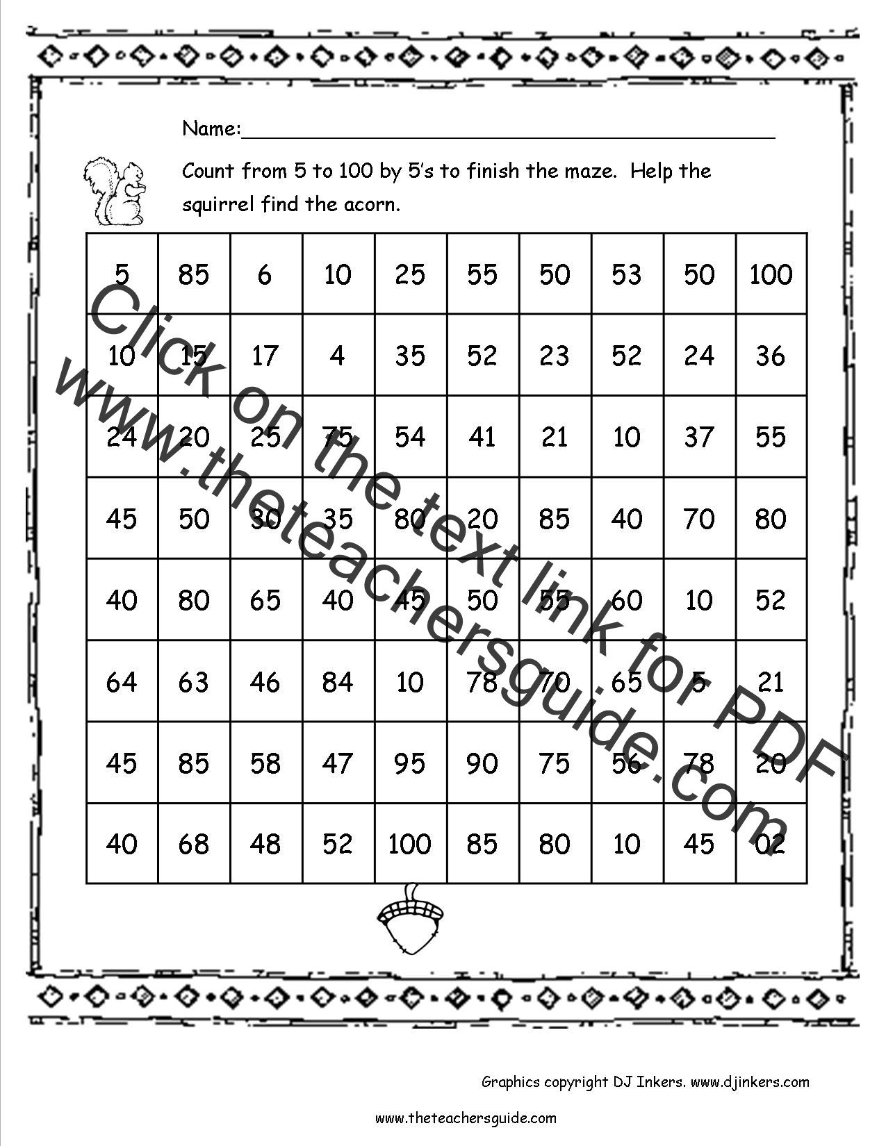 Count to 100 Worksheets Kindergarten 100 Day Worksheets