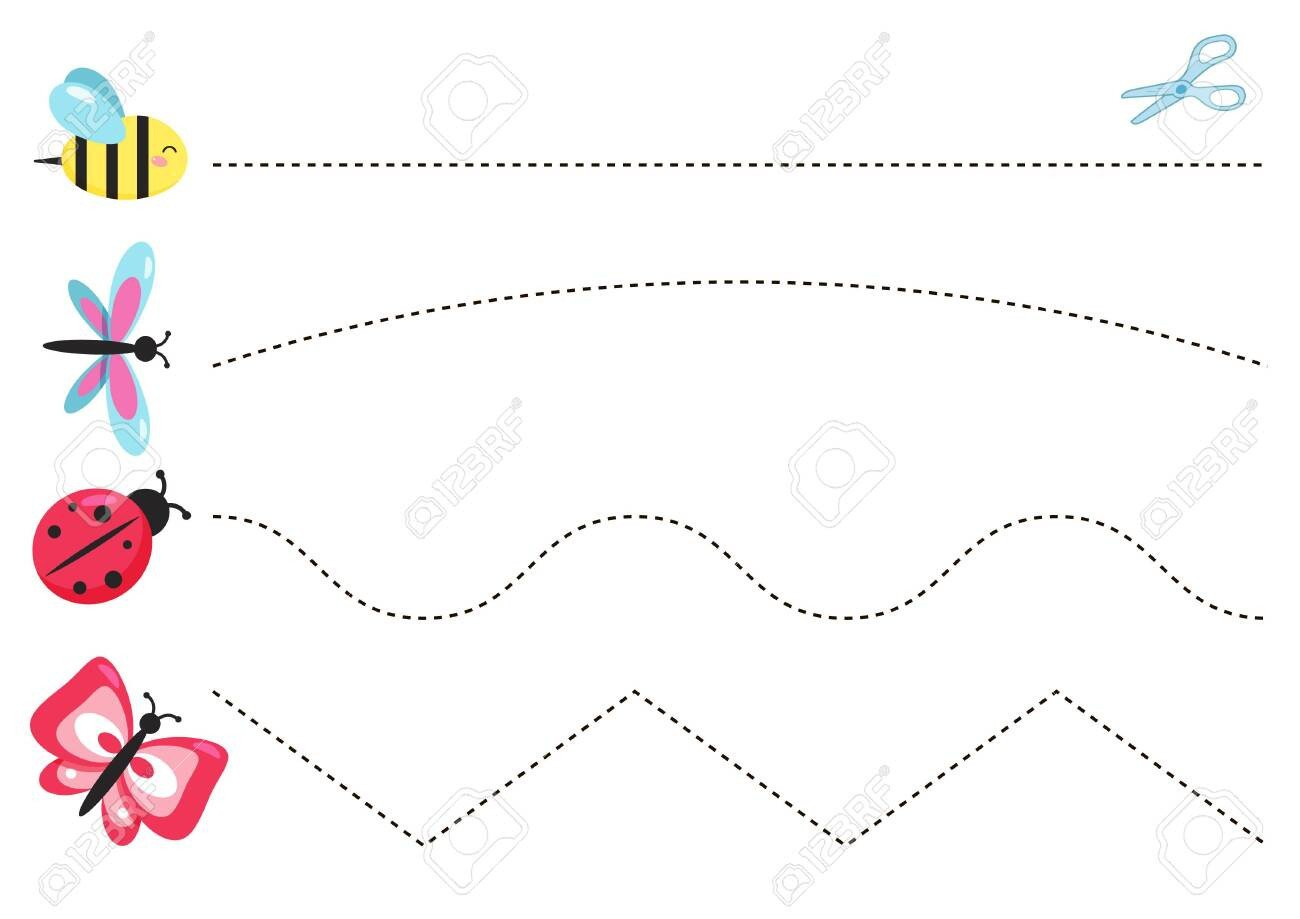 photo stock vector cutting practice worksheet for preschool kids educational game vector cartoon insects butterfly bee