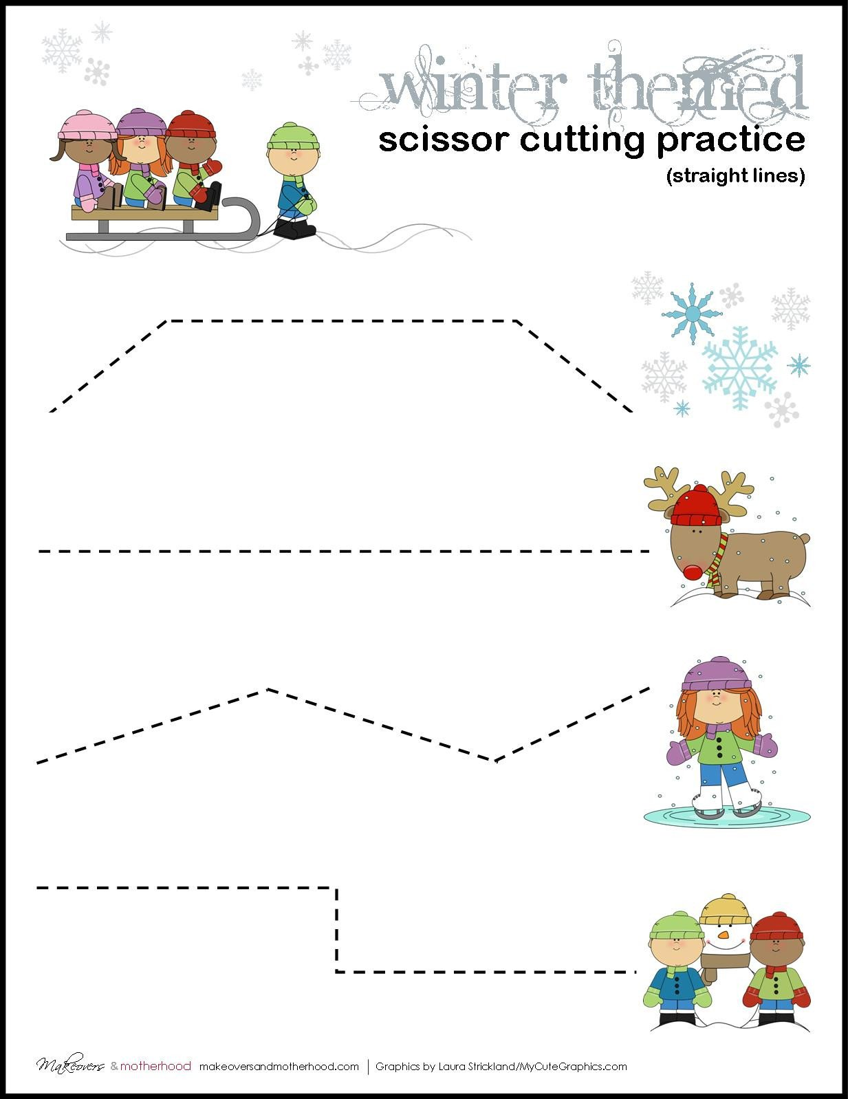 Winter Themed Scissor Cutting Practice sheets graphic 2