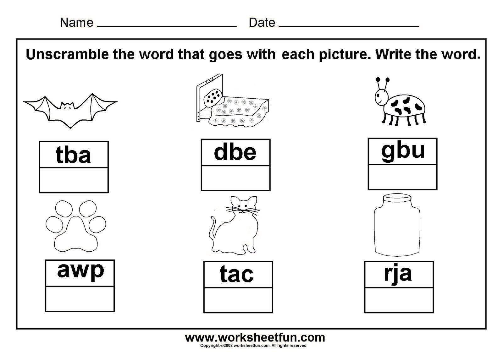Cvc Words Worksheets for Kindergarten Unscramble Cvc Words Great to Laminate and Put In A Word