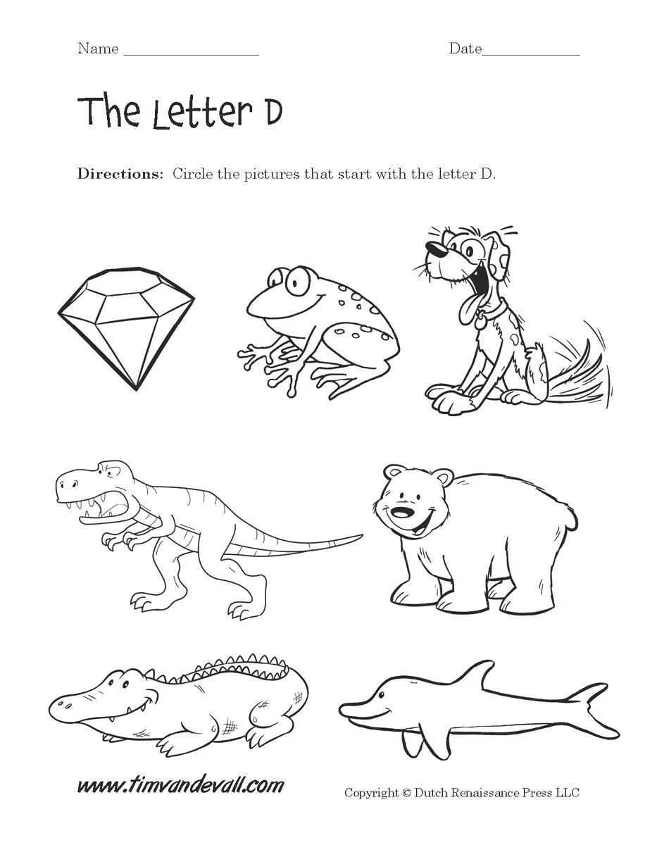 D Worksheets for Kindergarten Kindergarten Letters Kindergarten Alphabet Worksheets