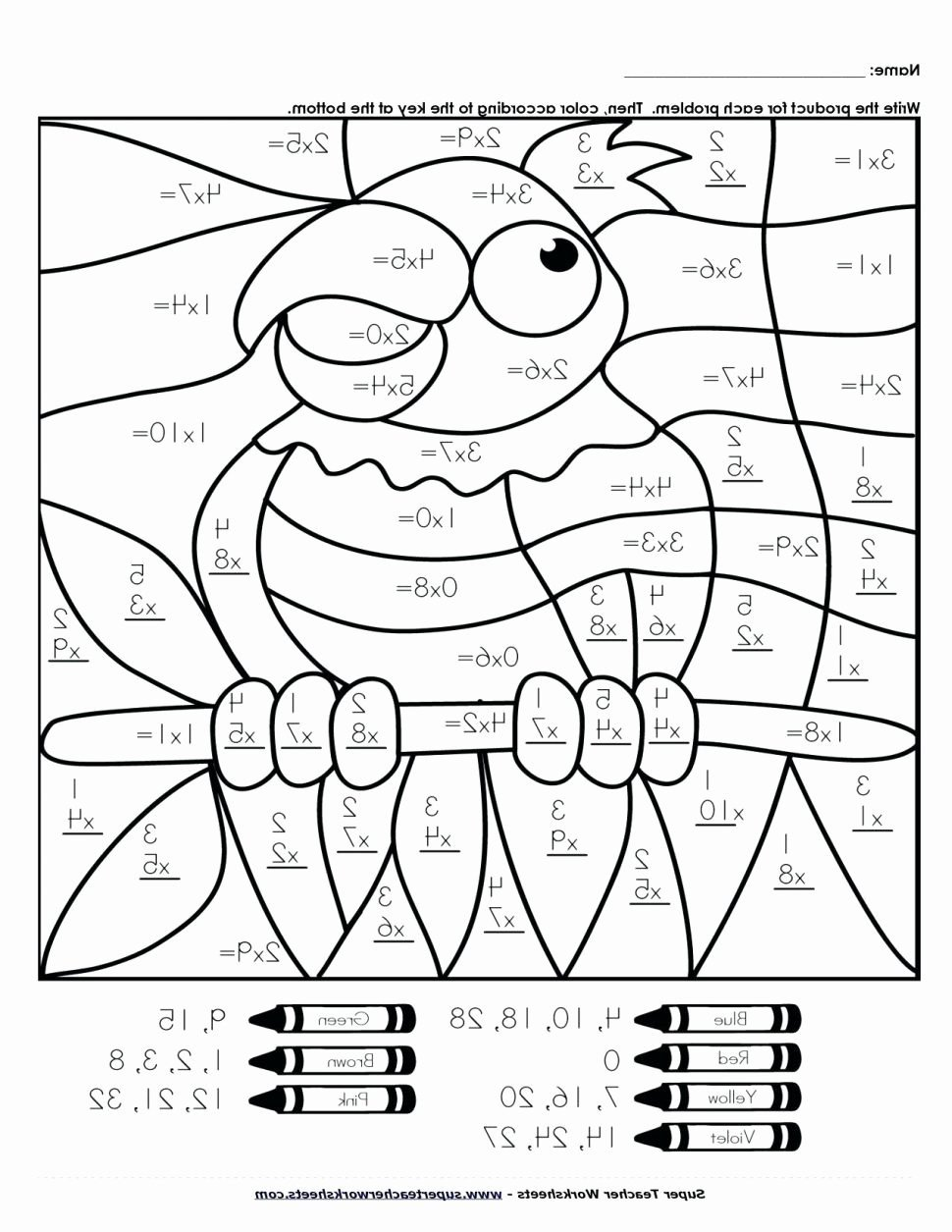 freeath coloring worksheets printable color by number for kids 5th grade division code fun