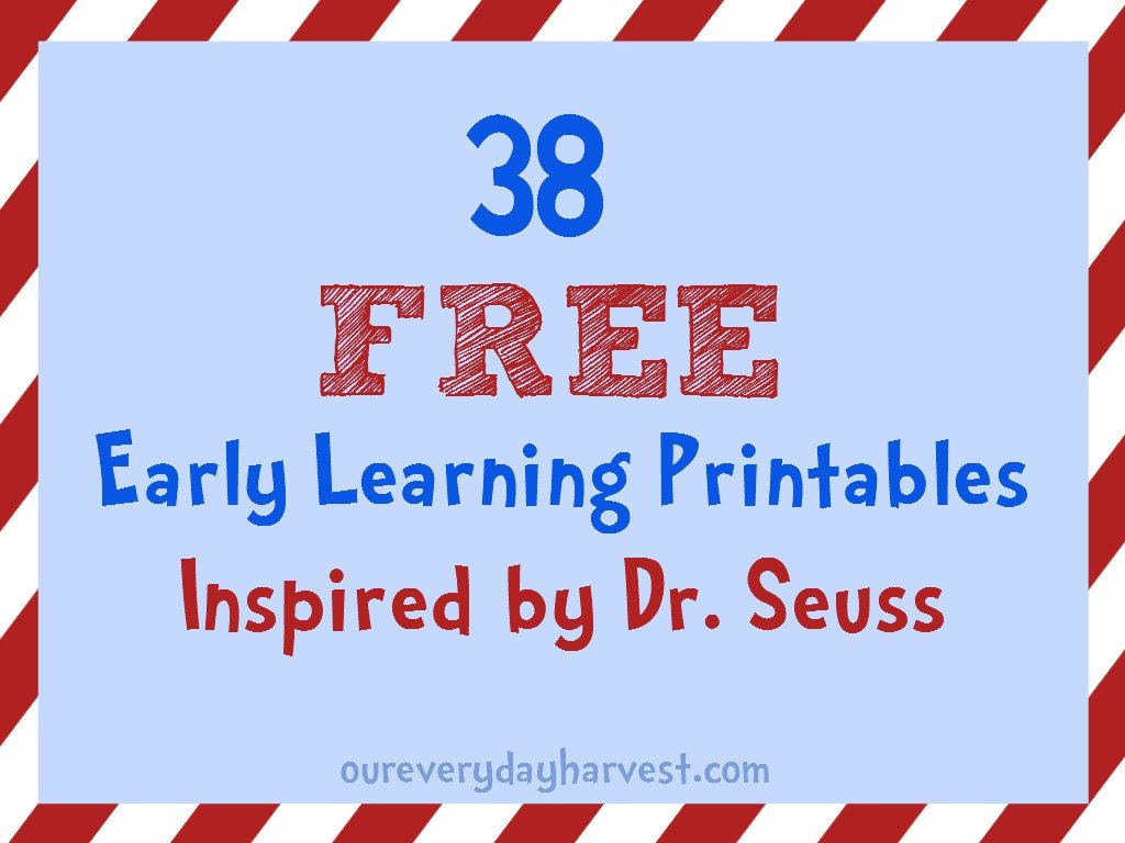 FREE Early Learning Printables Inspired Dr Seuss