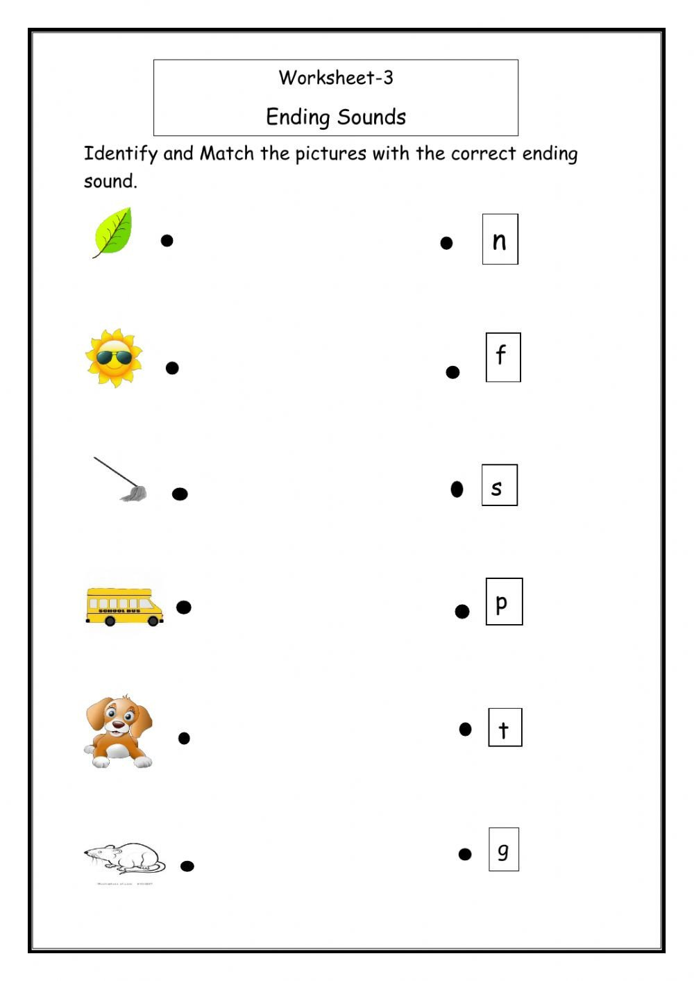Ending sound Worksheets for Kindergarten Ending sound Worksheet Interactive Worksheet