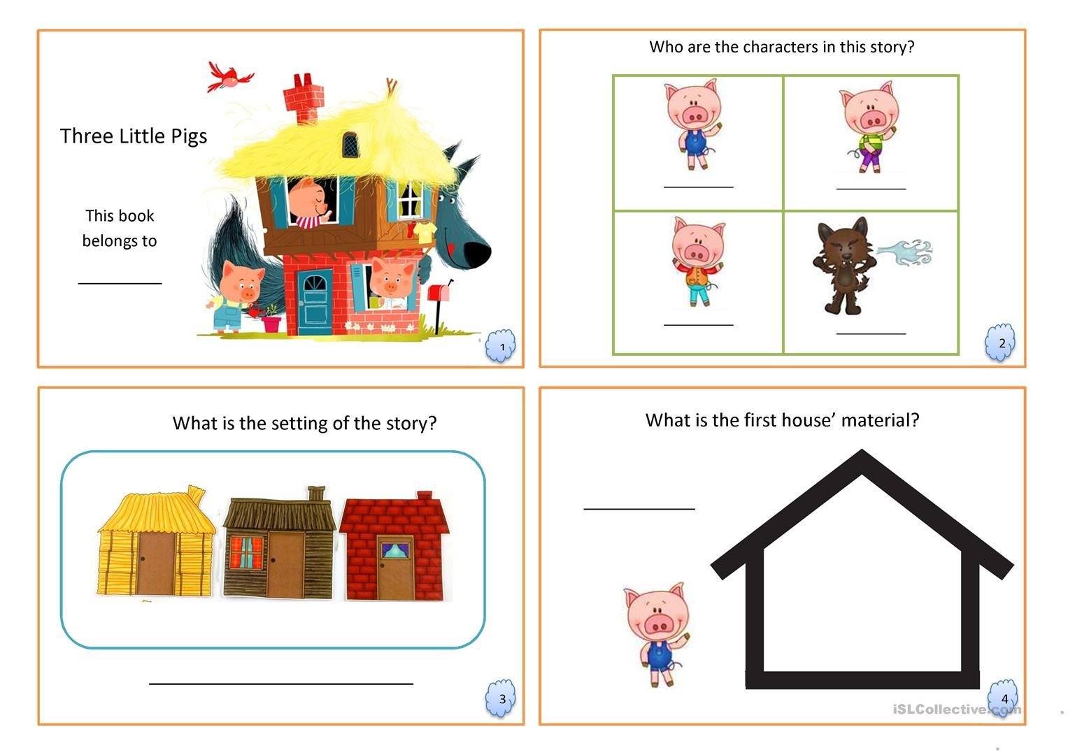 Fairy Tale Worksheets for Kindergarten Three Little Pigs Book Fairy Tale English Esl Worksheets