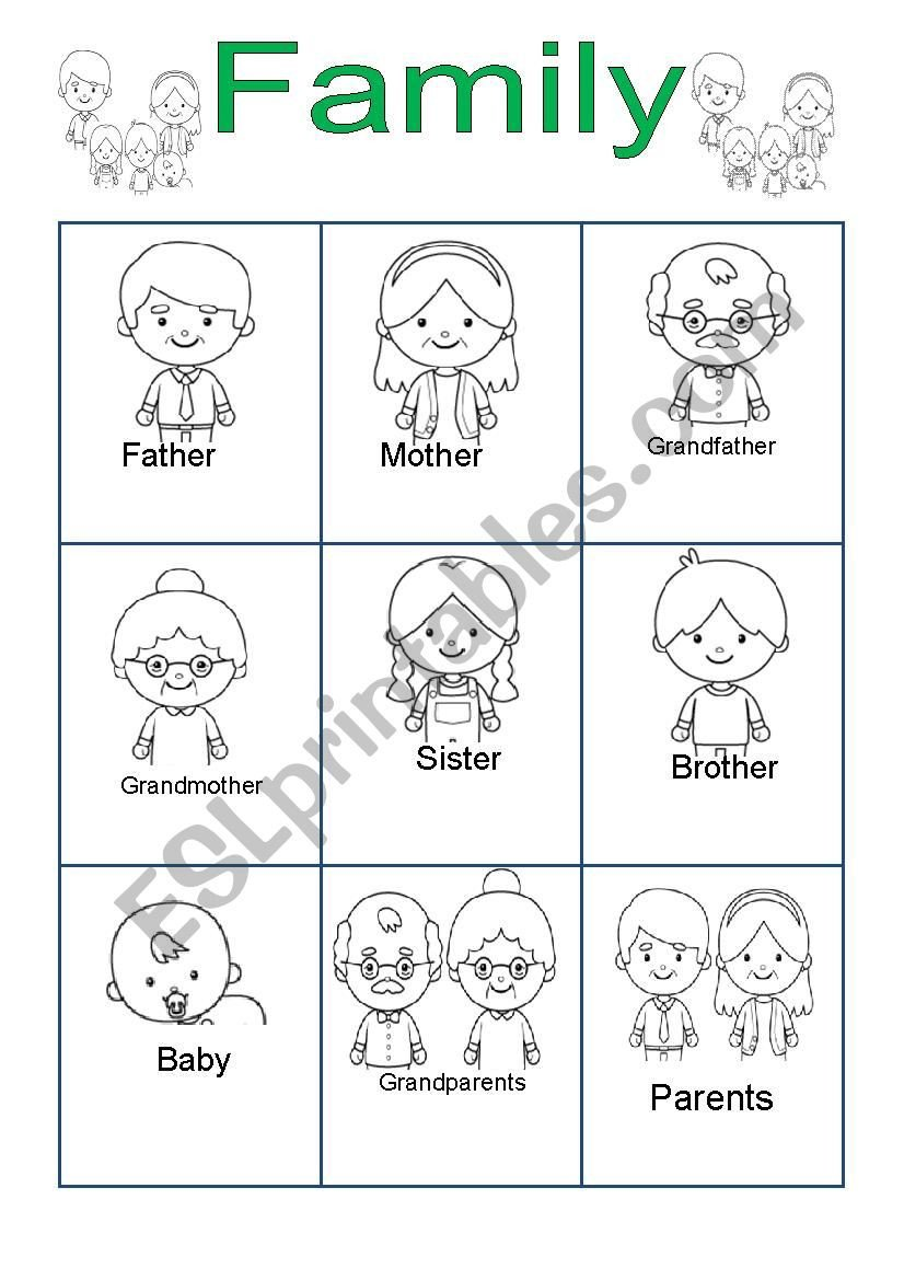 Family Worksheets for Kindergarten Family for Kindergarten Esl Worksheet by andang