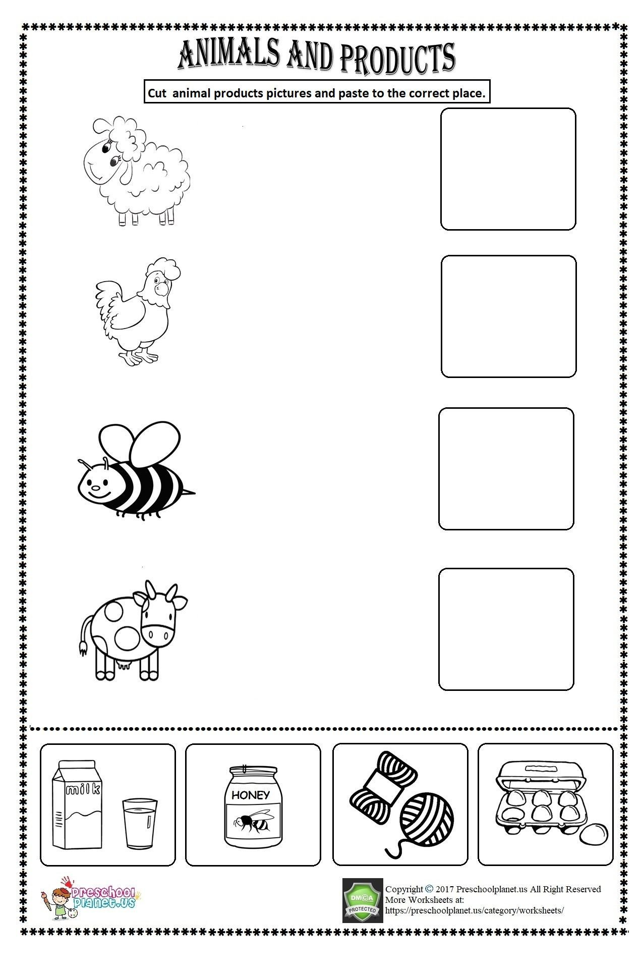 Farm Worksheets for Kindergarten Animal Products Worksheet