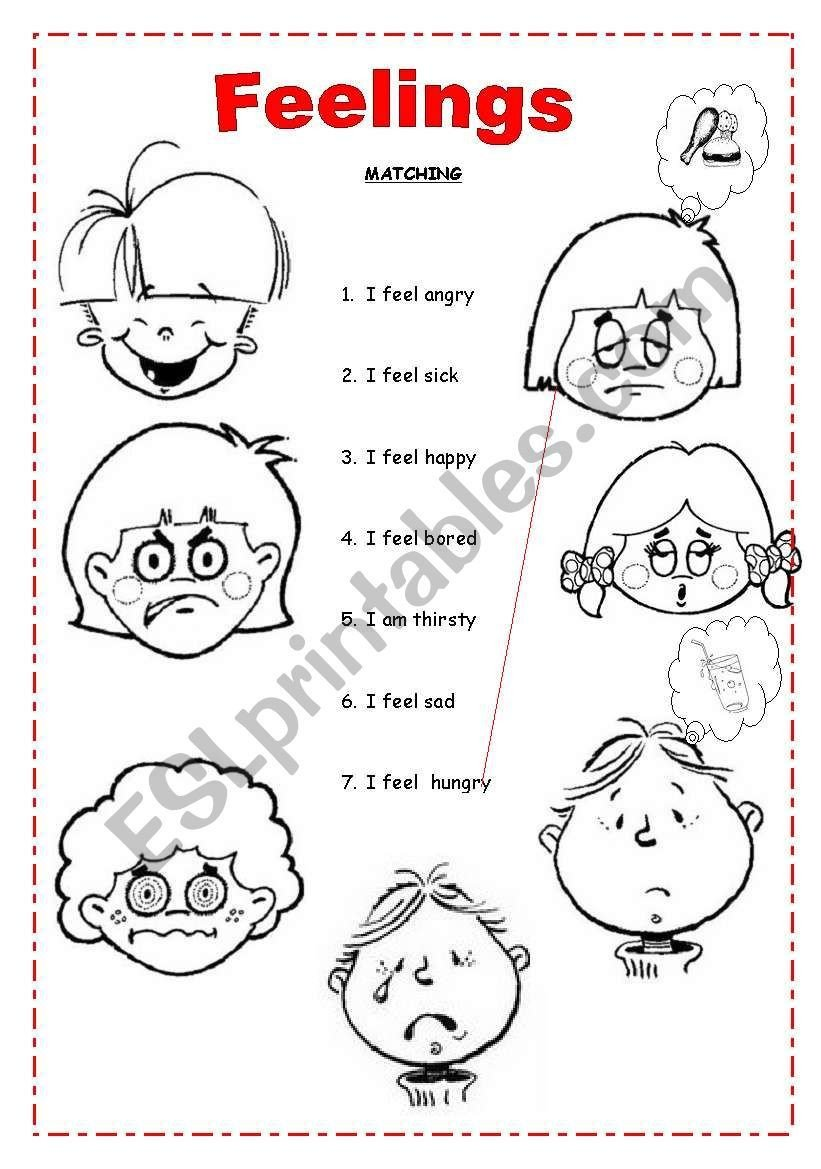 Feelings Worksheet for Kindergarten A Matching to Practice Feelings if Working with Littleones