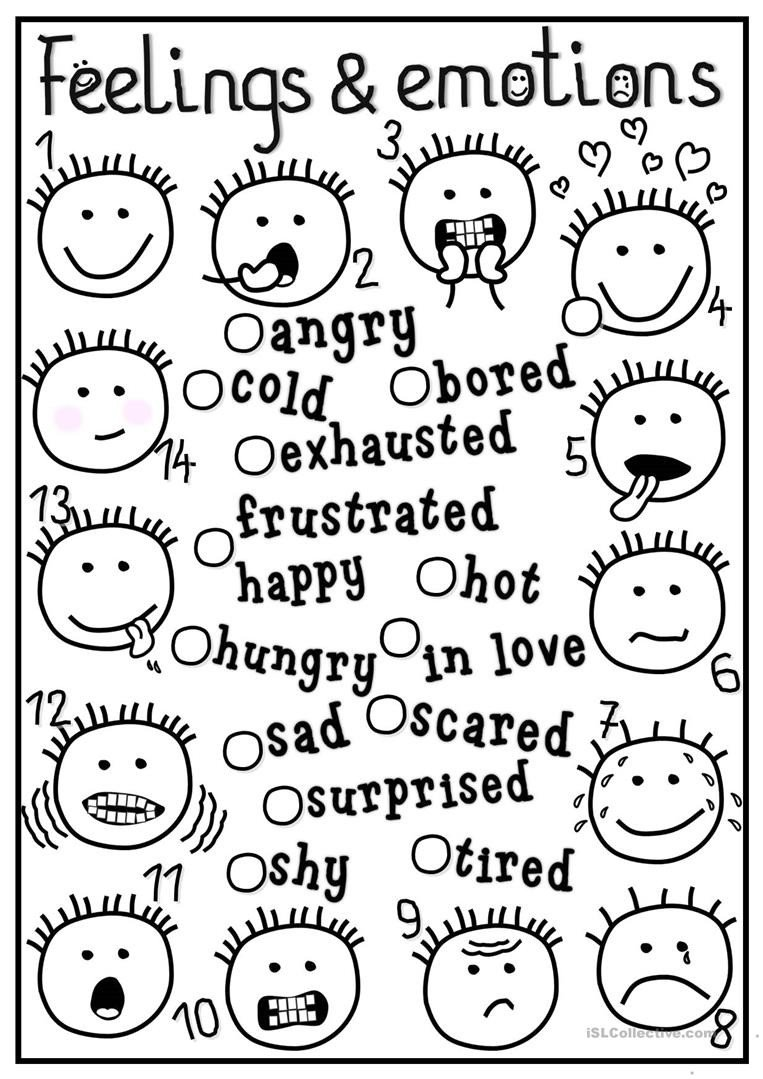 feelings and emotions matching picture description exercises tests 1