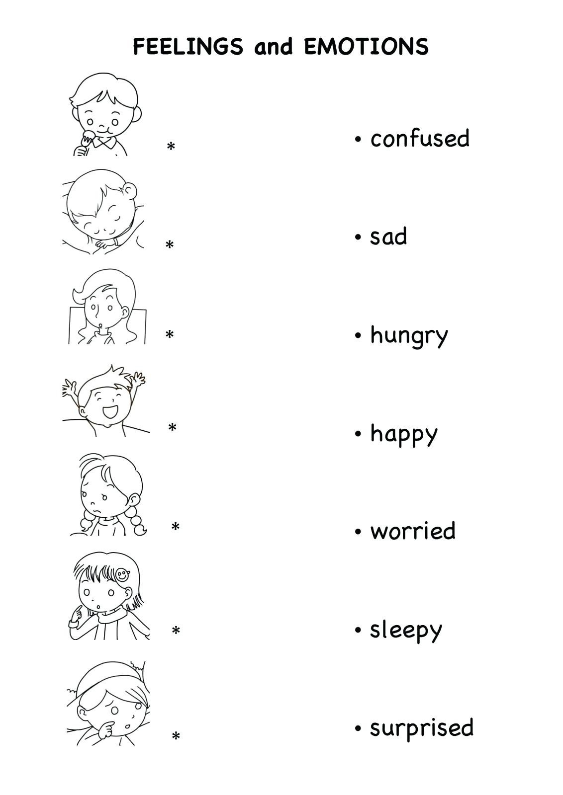 feelings and emotions worksheets emotion for kids teaching kindergarten pdf preschool family chart school child opposite word easter art ideas babies dinosaur math domestic