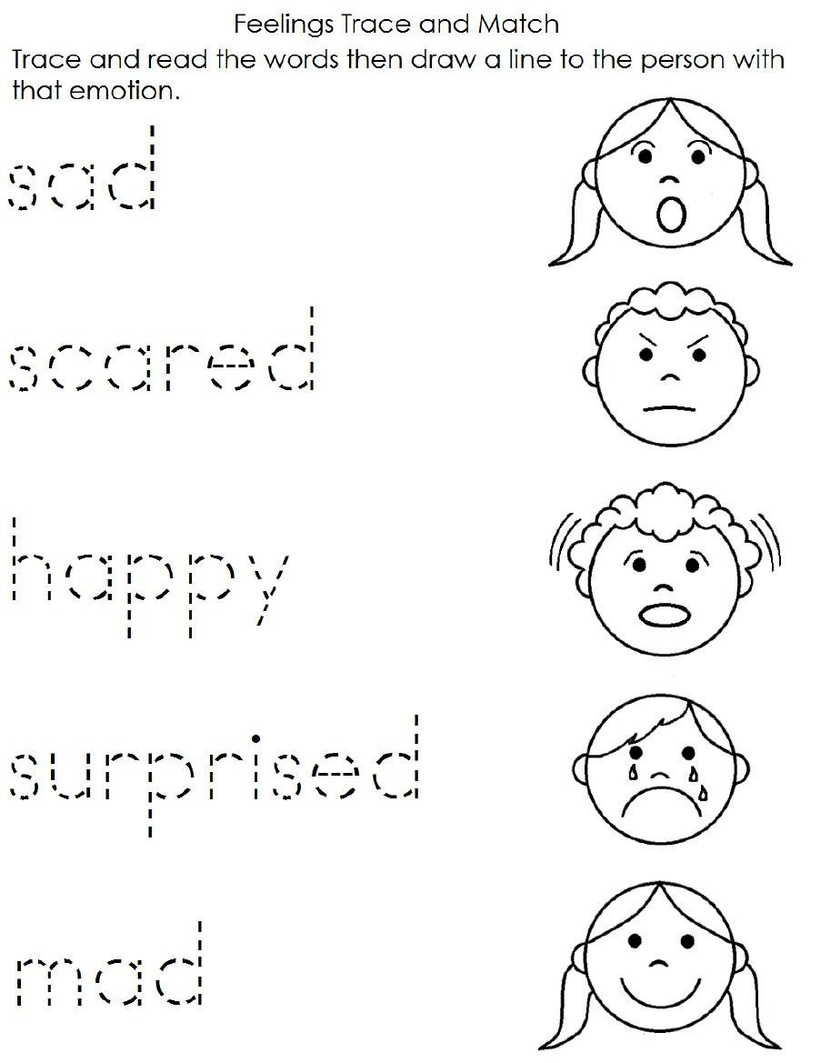Feelings Worksheet for Kindergarten Math Worksheet Preschool English Worksheetse Printable for