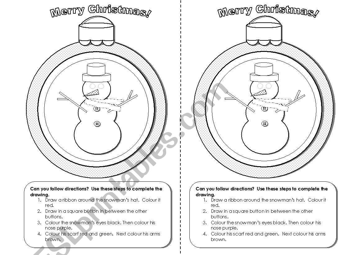 Follow Directions Coloring Worksheet Christmas Snowman Activity for Following Instructions Esl