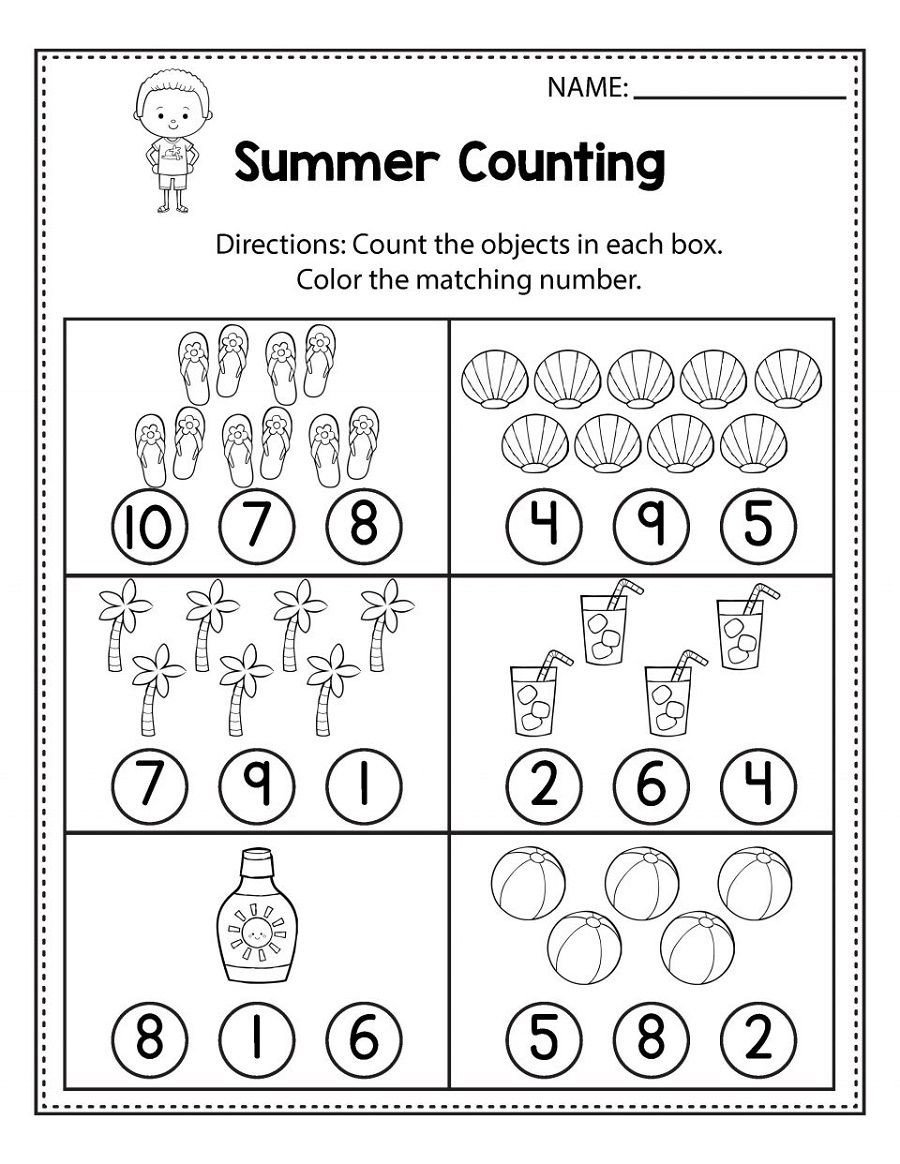 Free Counting Worksheets for Kindergarten Free Math Sheets Fun Printable with Images