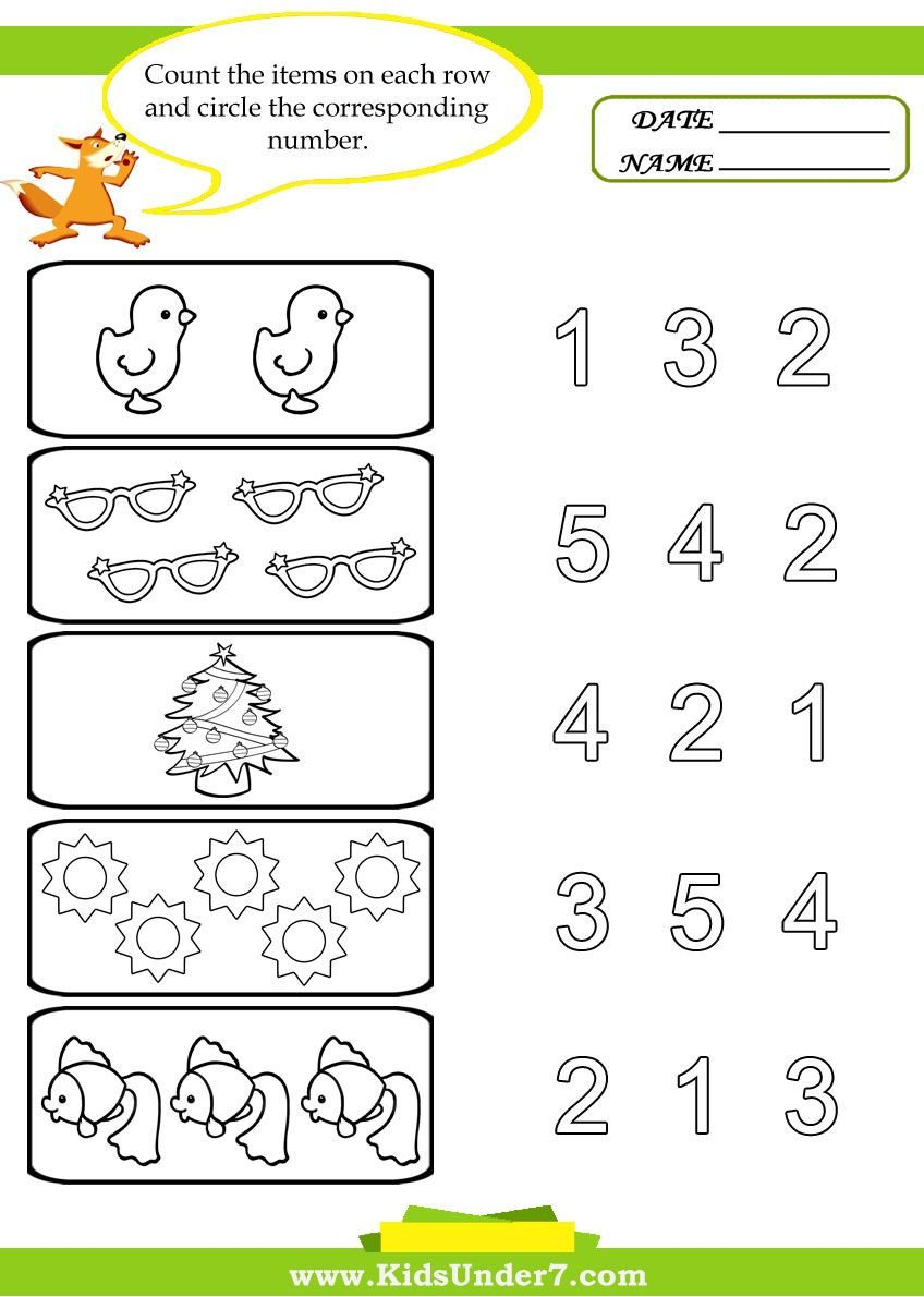 Free Counting Worksheets for Kindergarten Kids Under 7 Preschool Counting Printables