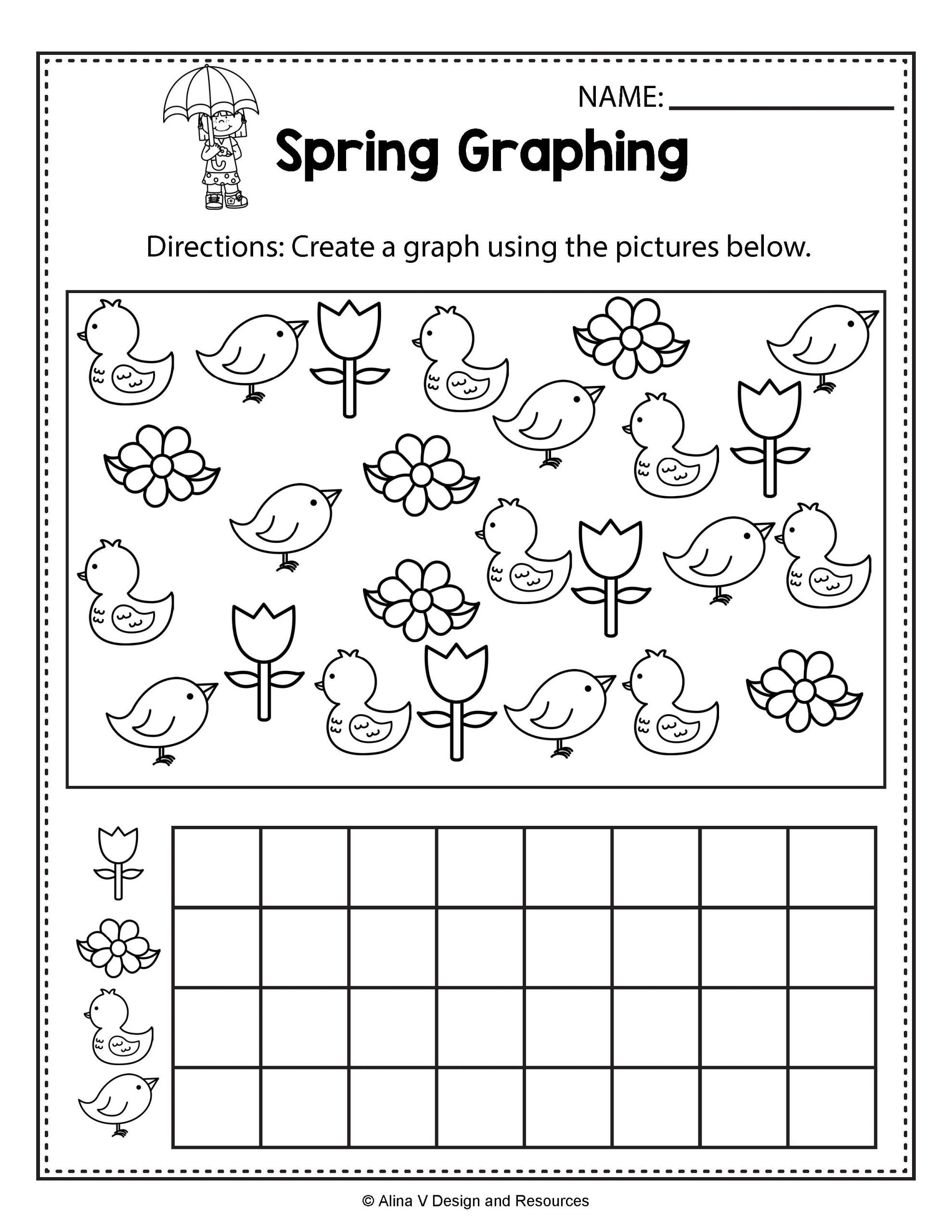 Free Graphing Worksheets for Kindergarten Spring Graphing Spring Math Worksheets and Activities for