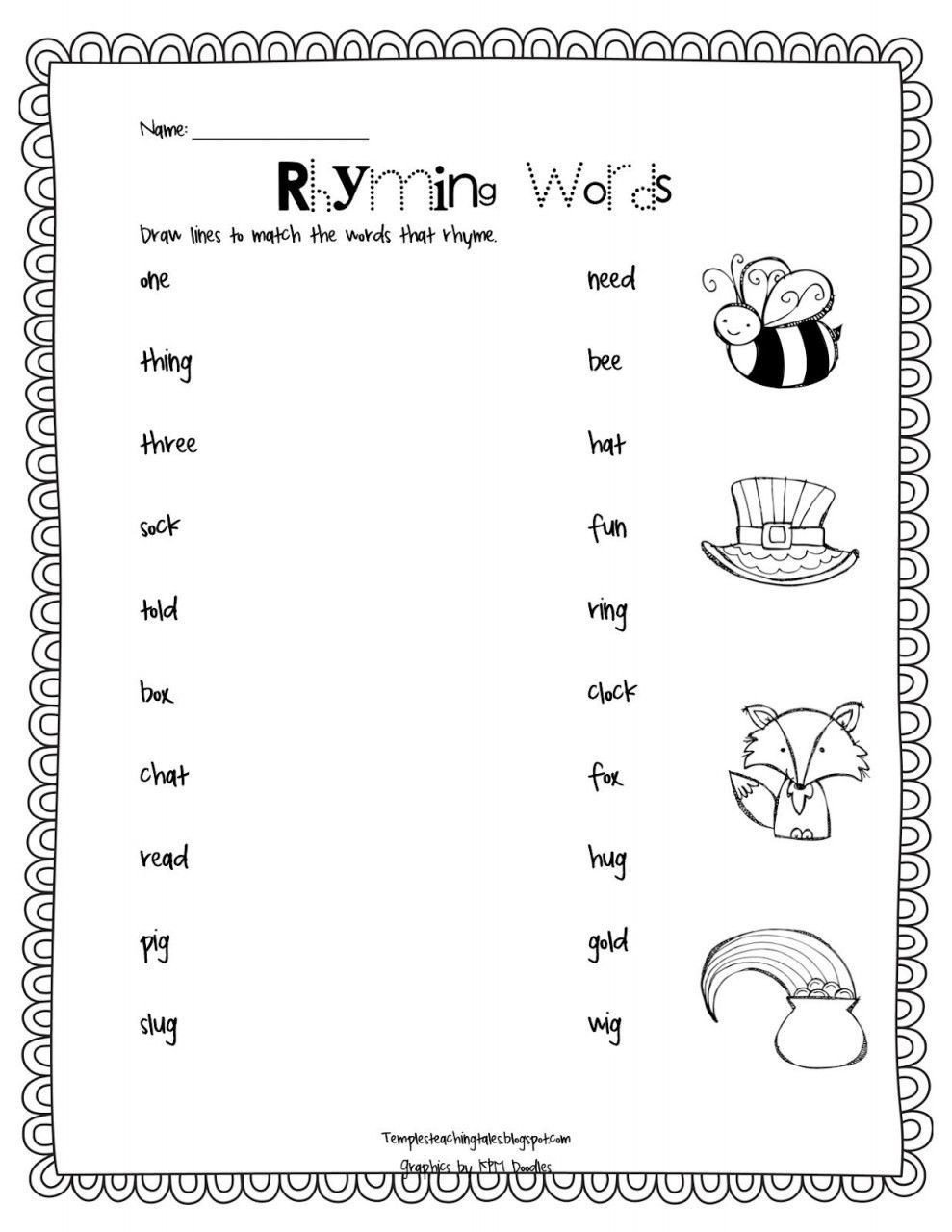 Free Rhyming Worksheets Kindergarten Rhyming Words Worksheets for Kindergarten