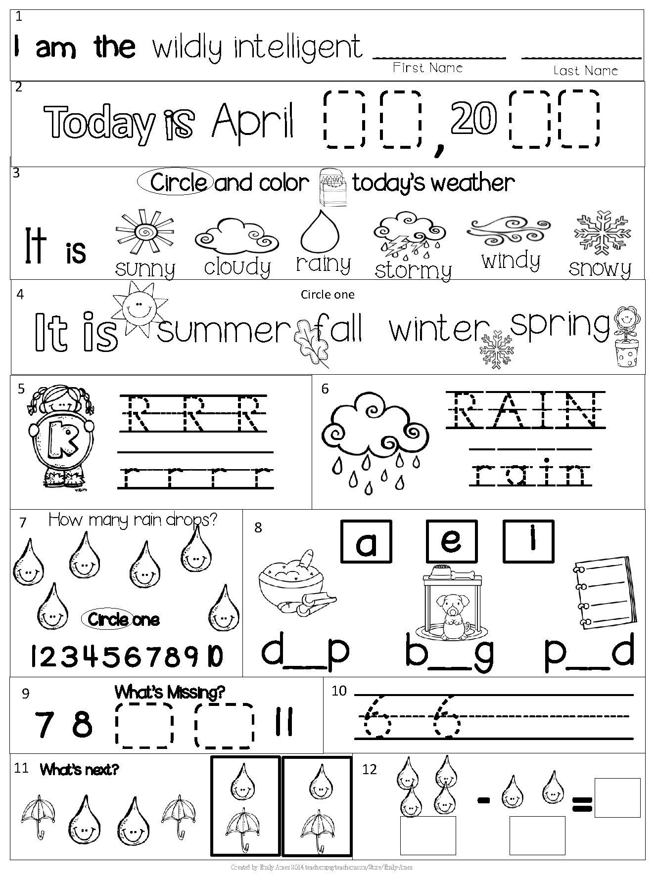 Free Syllable Worksheets for Kindergarten April Kindergarten Morning Work In 2020