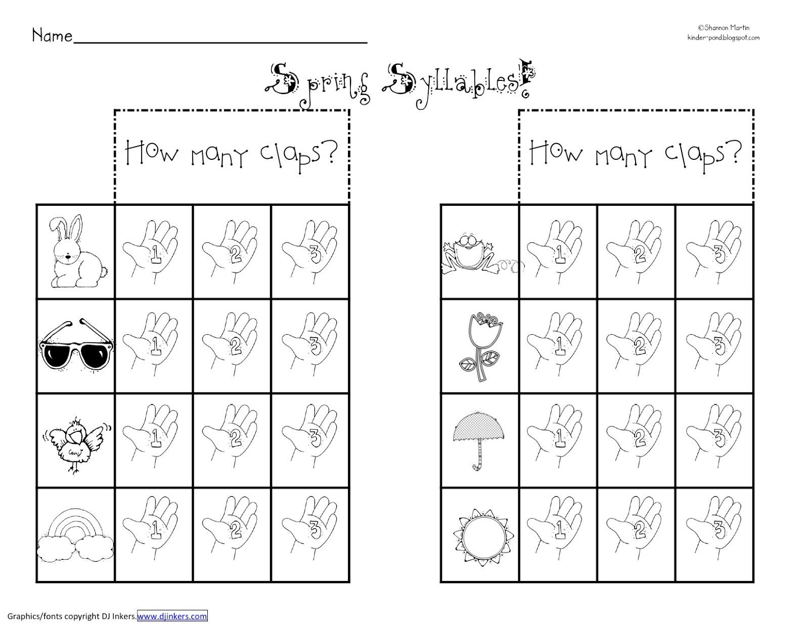 Free Syllable Worksheets for Kindergarten Free Syllables Worksheets