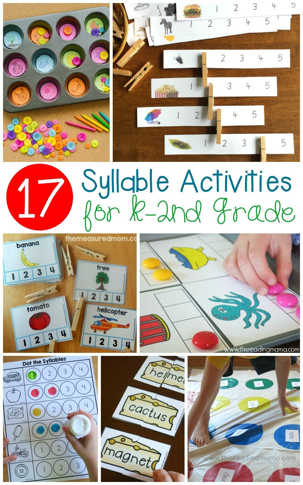 Free Syllable Worksheets for Kindergarten Fun Hands Syllable Activities for Early Readers