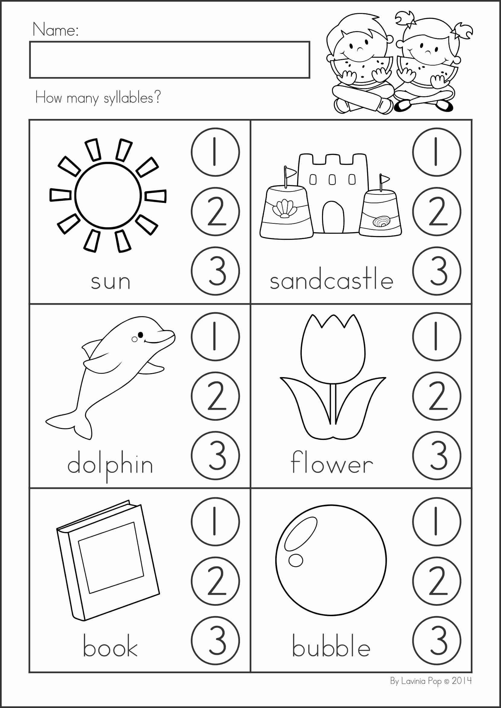 Free Syllable Worksheets for Kindergarten Pin by Anita Arag³n On Creatividad