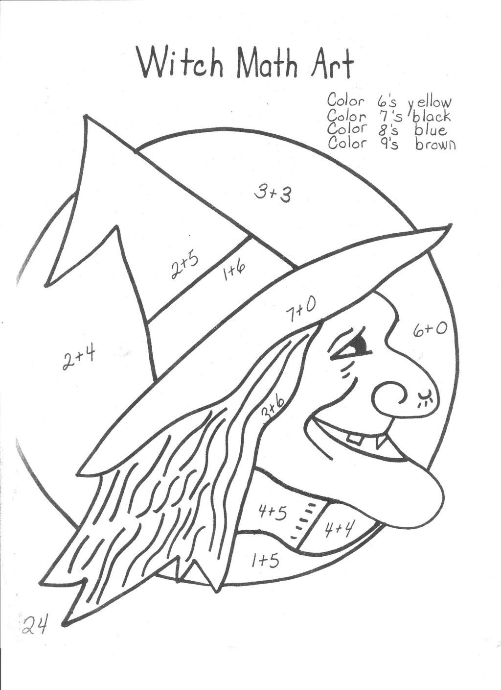 witches 13 days of halloween ideas math coloring worksheets 2