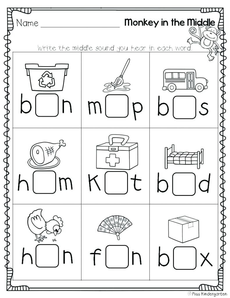 Initial sound Worksheets for Kindergarten Beginning Middle End sounds Kindergarten Worksheets