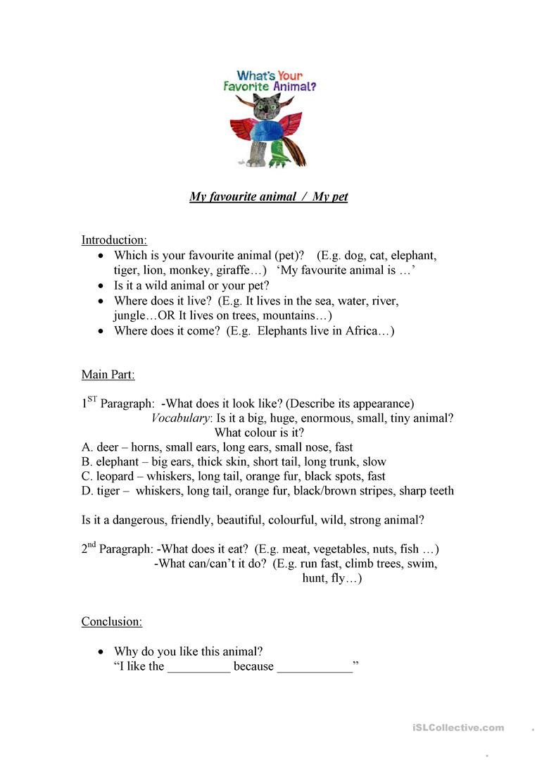 Introduction to Animals Worksheet My Favourite Animal English Esl Worksheets for Distance