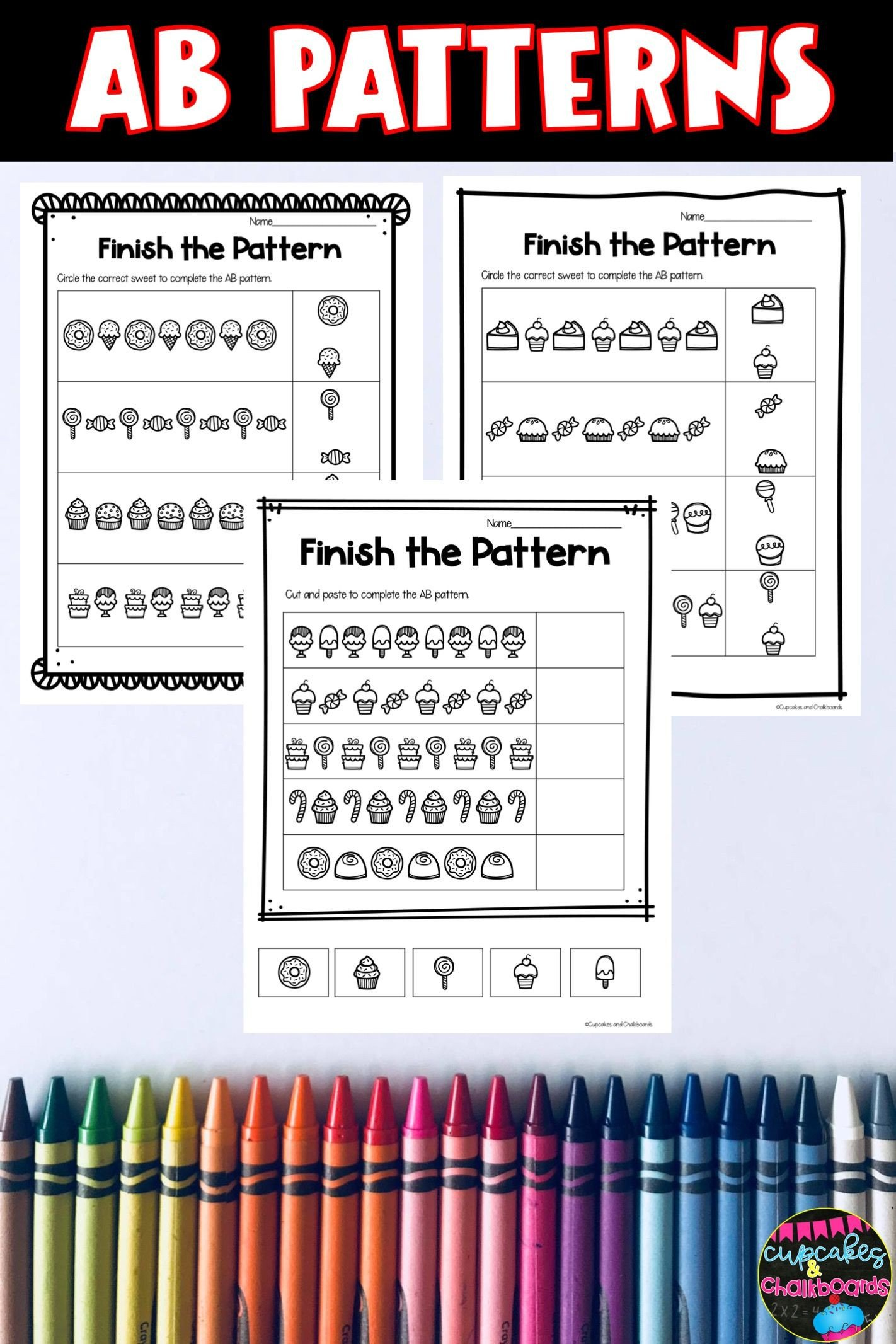 Kindergarten Ab Pattern Worksheets Ab Patterns In 2020
