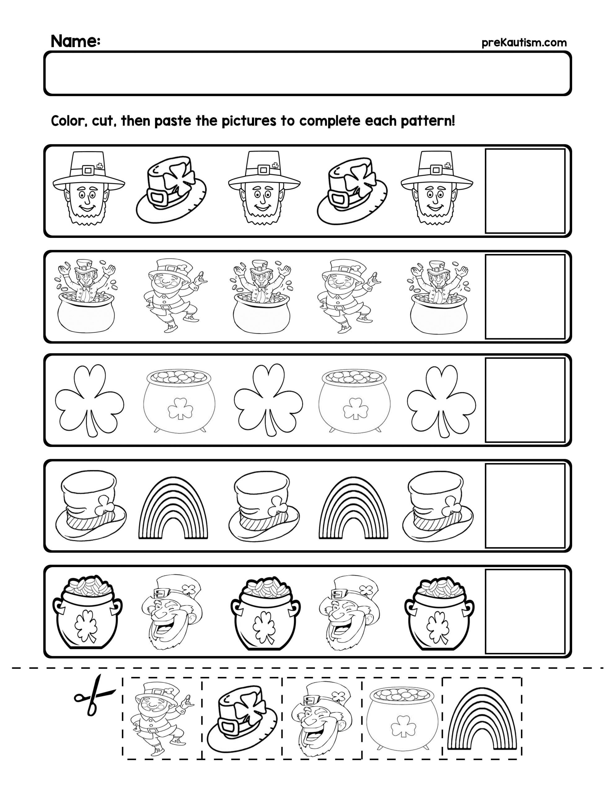 ab pattern worksheets for preschool free 1