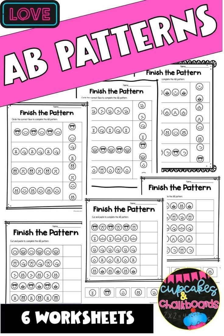 Kindergarten Ab Pattern Worksheets Faces Ab Patterns Worksheets In 2020