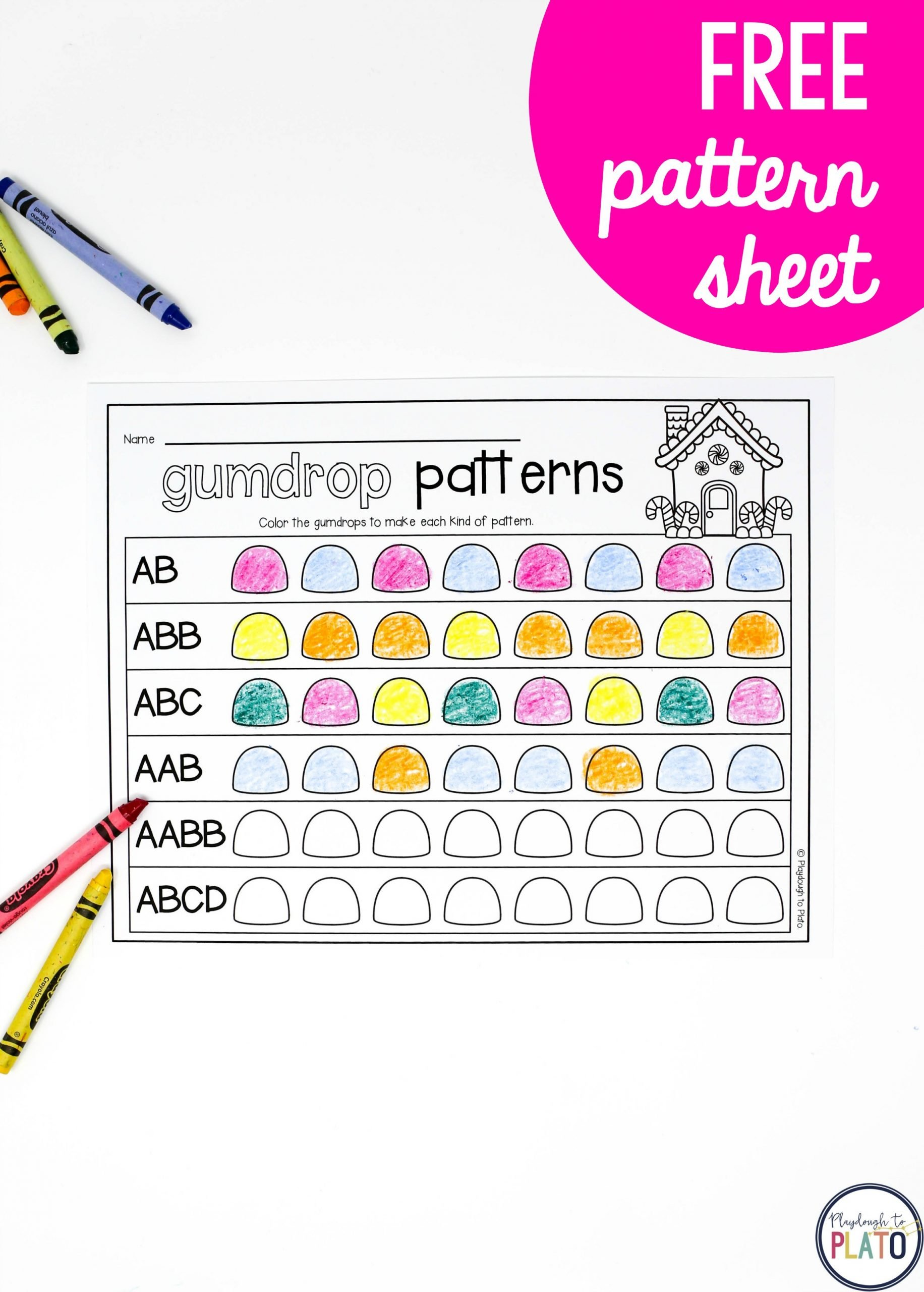 Kindergarten Ab Pattern Worksheets Gumdrop Patterns Playdough to Plato