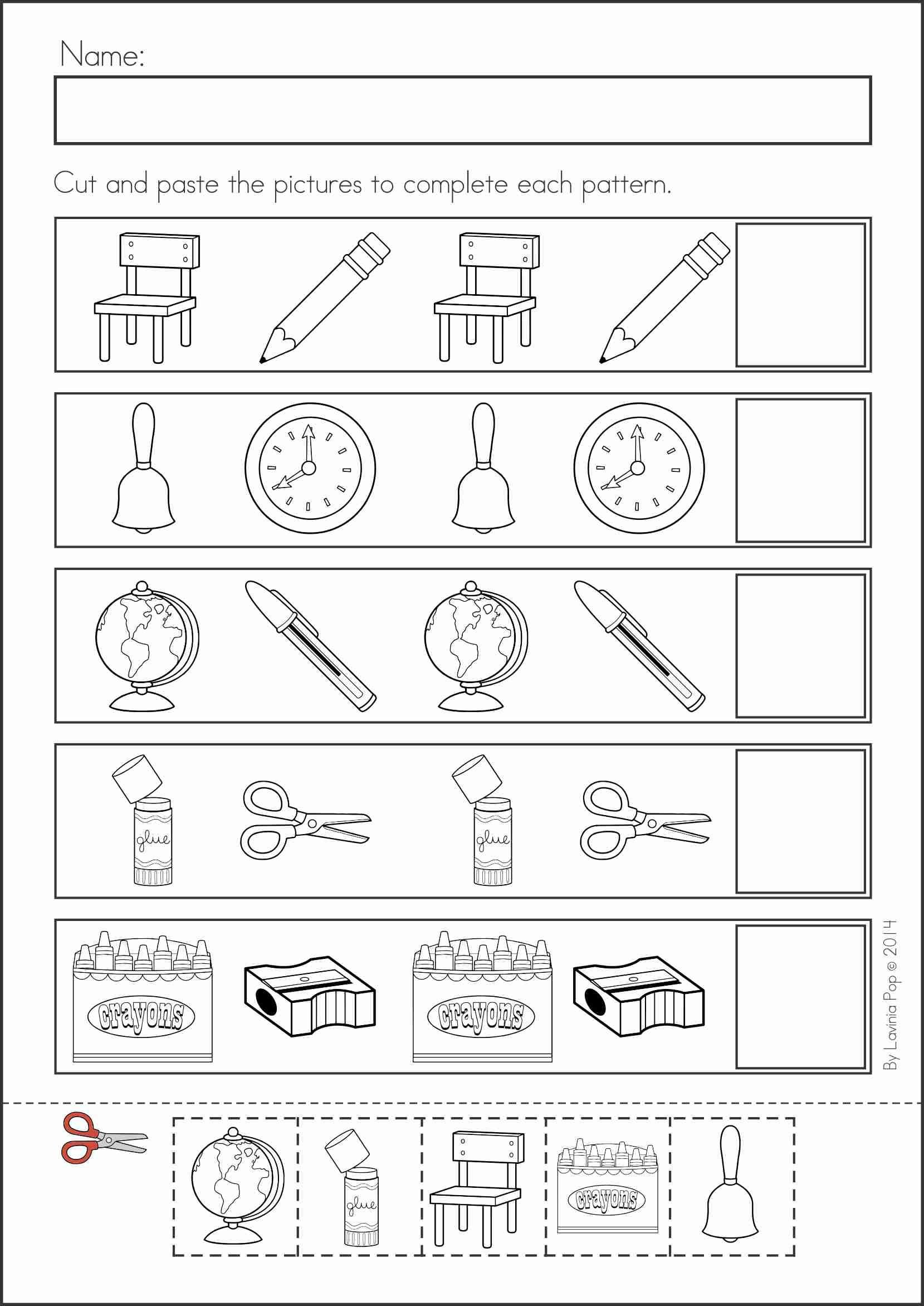 Kindergarten Ab Pattern Worksheets Kindergarten Back to School Math & Literacy Worksheets and