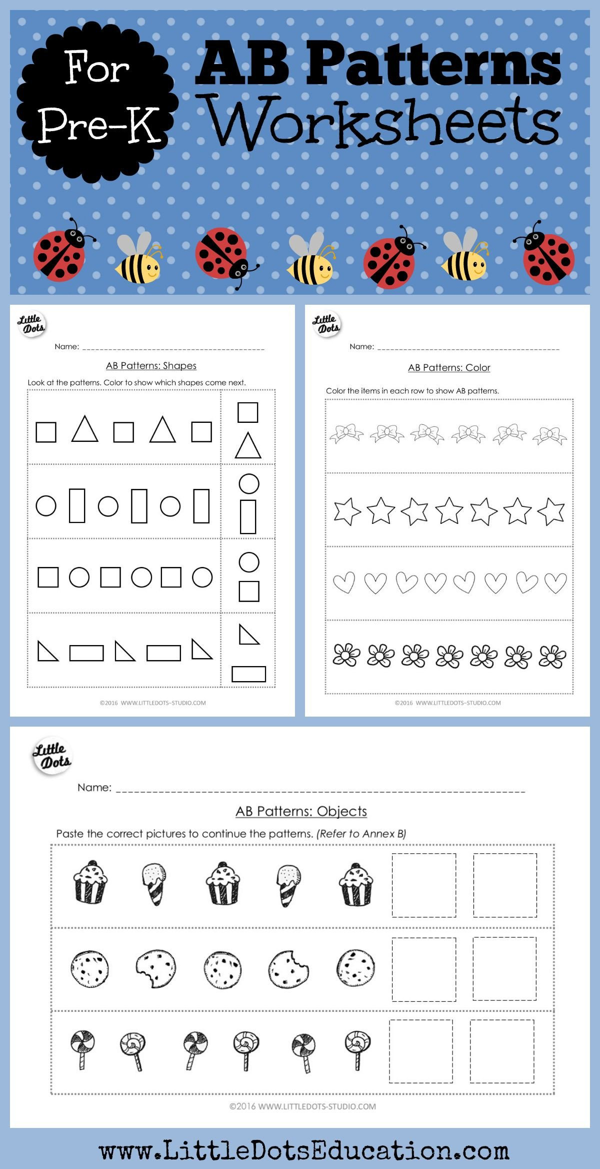 Kindergarten Ab Pattern Worksheets Pre K Math Ab Patterns Worksheets and Activities