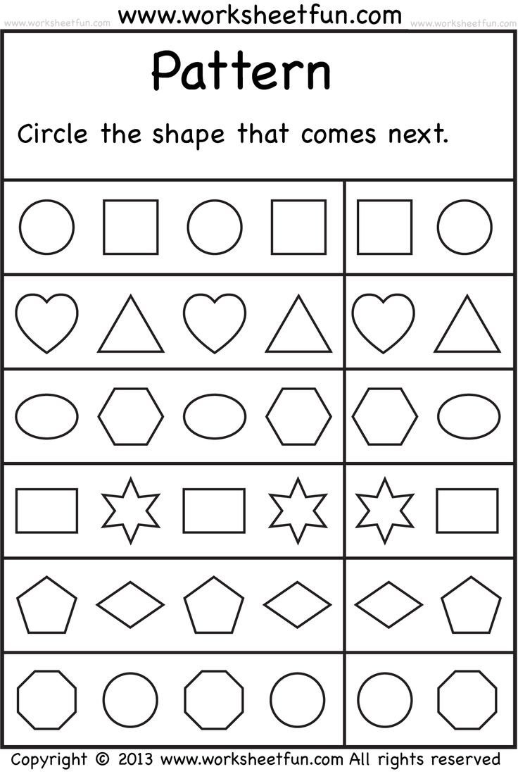 shape pattern worksheet for kids