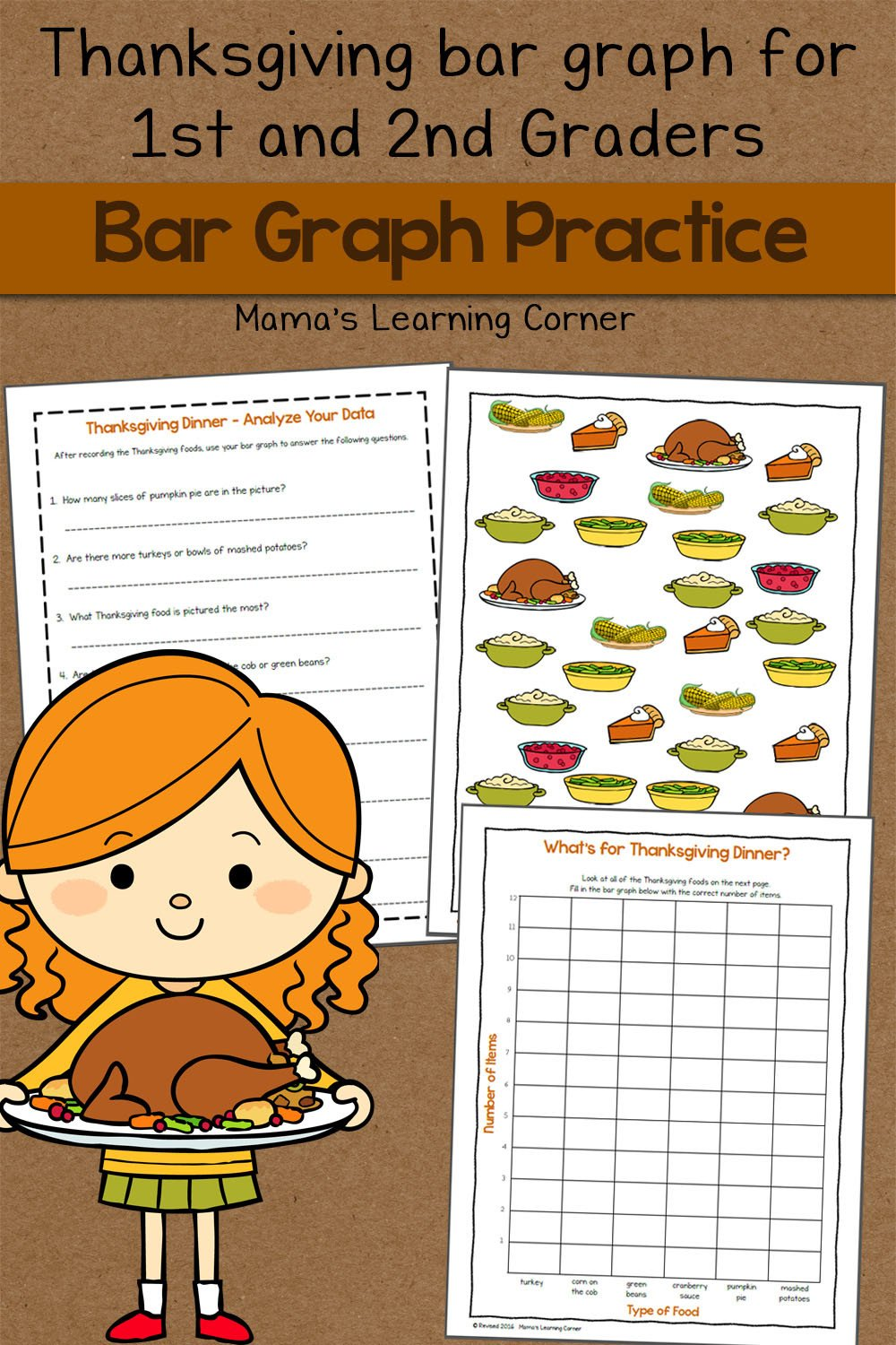 Kindergarten Bar Graph Worksheets Bar Graph Worksheet Thanksgiving Mamas Learning Corner