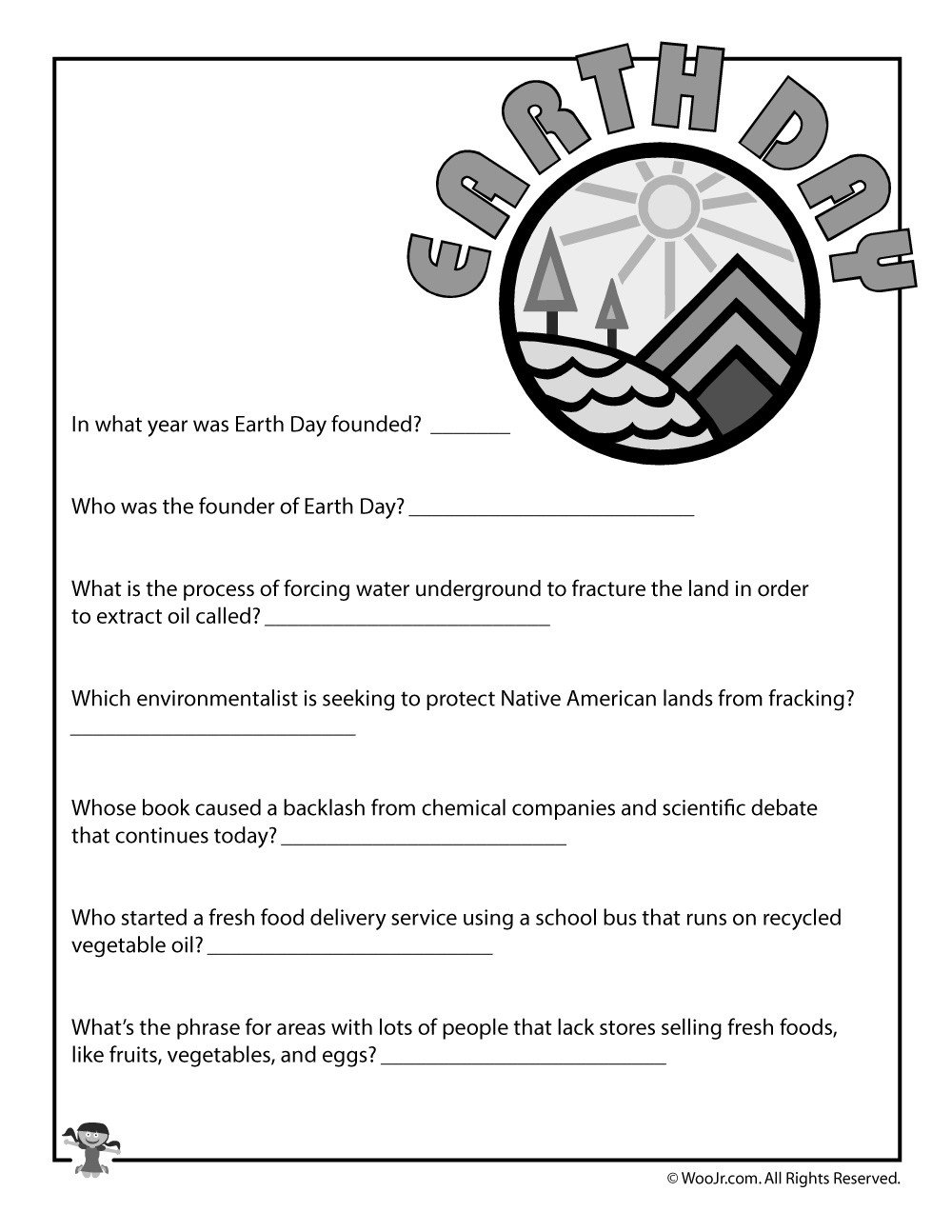 Kindergarten Earth Day Worksheets Earth Day Printable Quiz