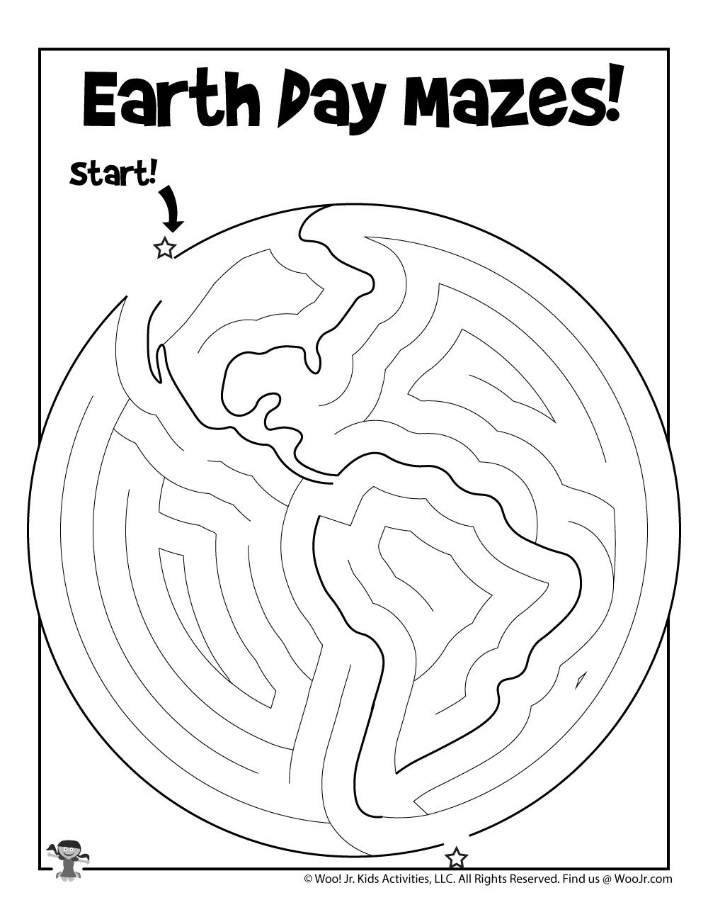 Kindergarten Earth Day Worksheets Printable Earth Day Maze for Kids