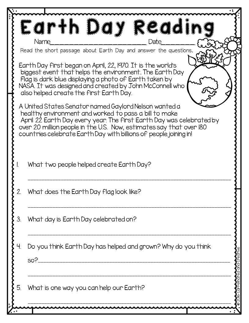 Kindergarten Earth Day Worksheets Spring Into Spring Holidays