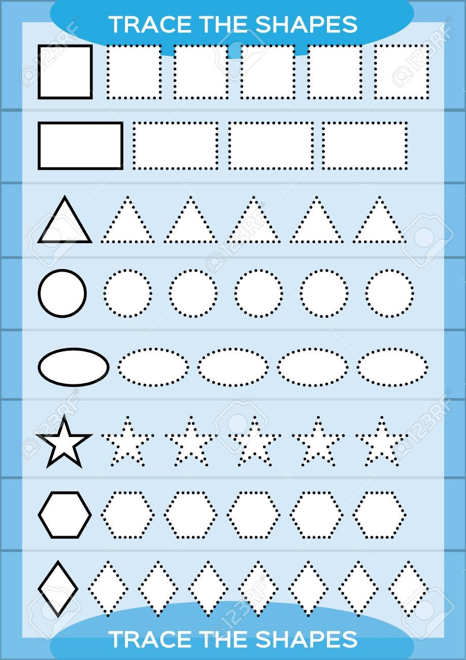 Kindergarten Fine Motor Skills Worksheets Trace the Shapes Kids Education Preschool Worksheet Basic