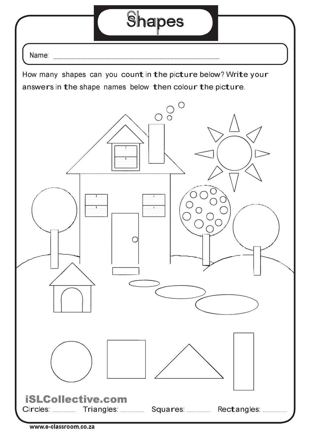 Kindergarten Shapes Worksheets Free Geometry Shapes