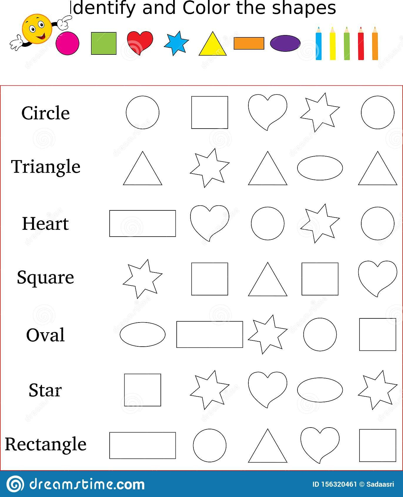 Kindergarten Shapes Worksheets Free Identify and Color the Correct Shape Worksheet Stock Image