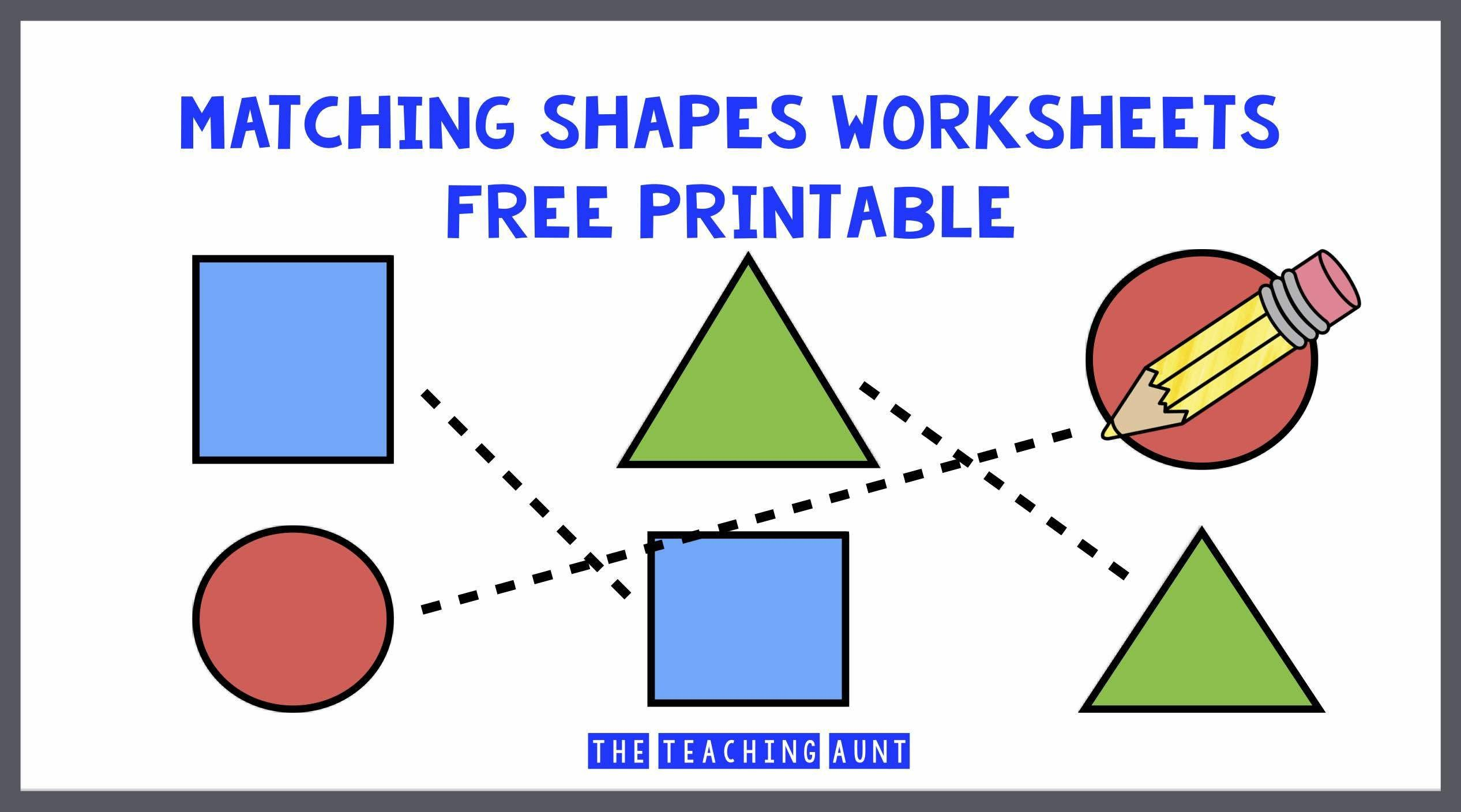 Kindergarten Shapes Worksheets Free Matching Shapes Worksheets the Teaching Aunt