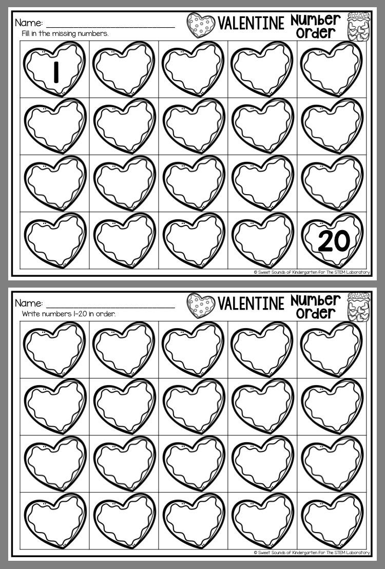 Kindergarten Valentine Math Worksheets Valentine Number order