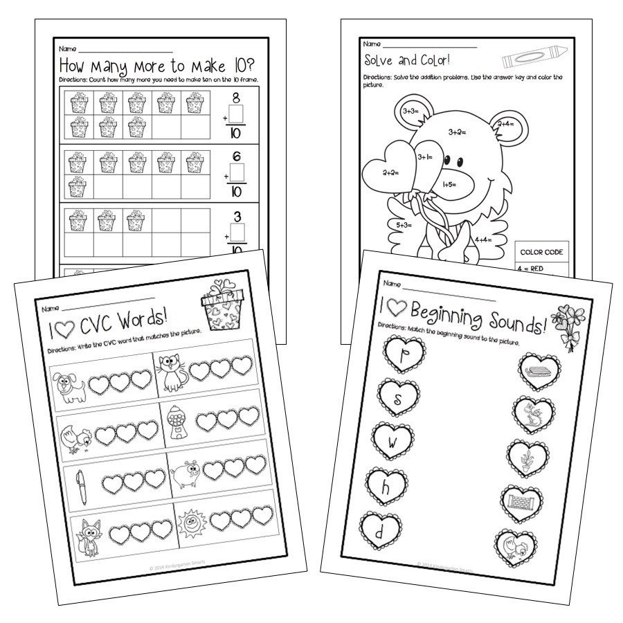 Kindergarten Valentine Math Worksheets Valentine S Day Math and Literacy Centers with Printable