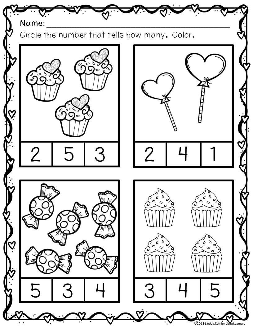 Kindergarten Valentine Math Worksheets Valentine S Day Math Preschool Printables